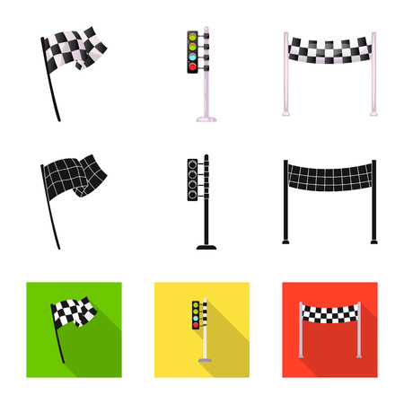 Vector design of car and rally icon. Set of car and race vector icon for stock.