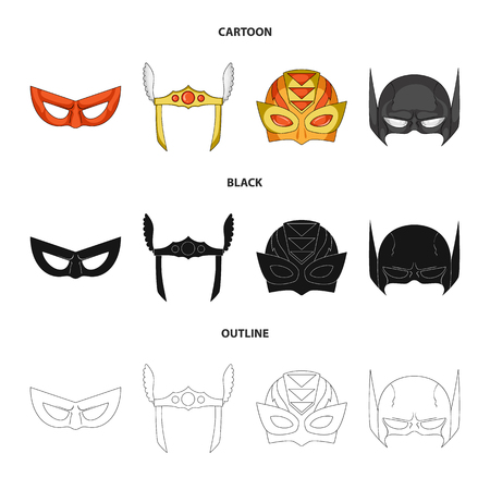 Isolated object of hero and mask symbol. Collection of hero and superhero stock vector illustration.