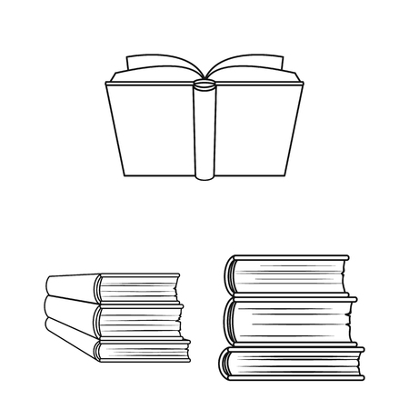 Book bound outline icons in set collection for design. Printed products bitmap symbol stock web illustration.