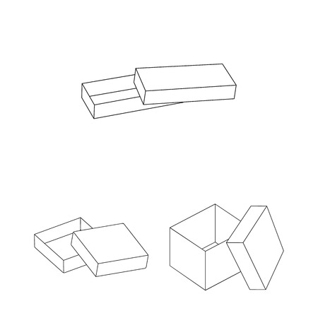 Different boxes outline icons in set collection for design.Packing box bitmap symbol stock web illustration. Imagens