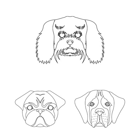 Dog breeds outline icons in set collection for design.Muzzle of a dog bitmap symbol stock web illustration.