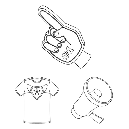 Fan and Attributes outline icons in set collection for design. Sports Fan bitmap symbol stock web illustration. Stock Photo
