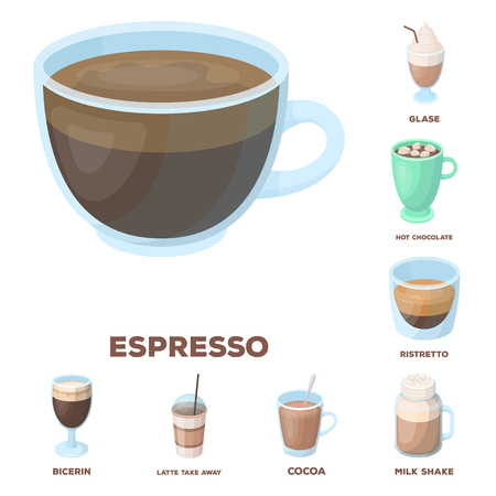 Different kinds of coffee cartoon icons in set collection for design. Coffee drink bitmap symbol stock web illustration.