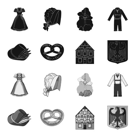 Country Germany black,monochrome icons in set collection for design. Germany and landmark bitmap symbol stock web illustration. Stockfoto