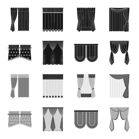Curtains, stick, cornices, and other web icon in black,monochrome style.Bow, fabric, tulle icons in set collection.