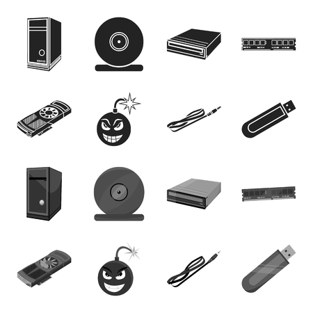 Video card, virus, flash drive, cable. Personal computer set collection icons in black,monochrome style bitmap symbol stock illustration web. Фото со стока