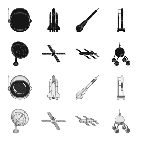 Radio radar, docking in space spacecraft, Lunokhod. Space technology set collection icons in black,monochrome style bitmap symbol stock illustration web. Stock Photo