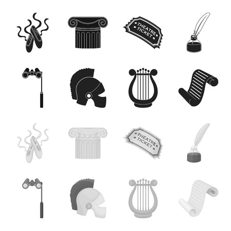 Theatrical binoculars, a helmet, a harp and a paper scroll. The theater set collection icons in black,monochrome style bitmap symbol stock illustration web.
