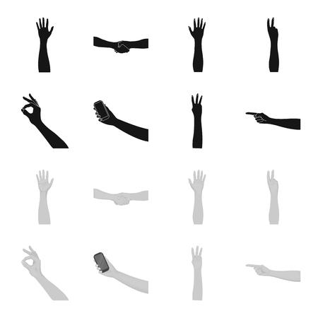 Langue des signes noir, icônes monochromes dans la collection de jeu pour la conception.Partie émotionnelle de l'illustration stock de symbole de bitmap de communication. Banque d'images