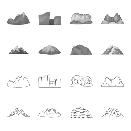 Mountains in the desert, a snowy peak, an island with a glacier, a snow-capped mountain. Different mountains set collection icons in outline,monochrome style bitmap symbol stock illustration web. Stock Photo