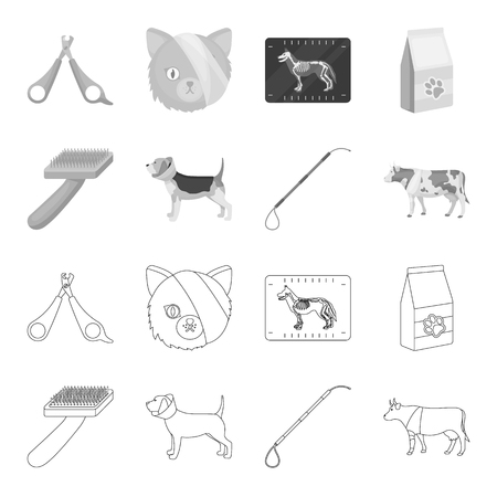 Dog, cow, cattle, pet .Vet Clinic set collection icons in outline,monochrome style bitmap symbol stock illustration web.