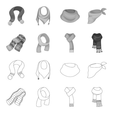 Various kinds of scarves, scarves and shawls. Scarves and shawls set collection icons in outline,monochrome style bitmap symbol stock illustration web. Stockfoto