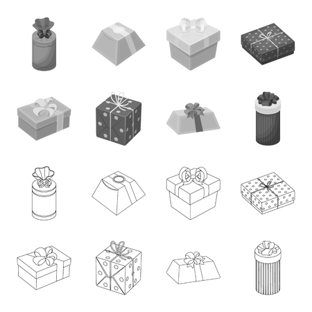 Gift box with bow, gift bag.Gifts and certificates set collection icons in outline,monochrome style bitmap symbol stock illustration web.