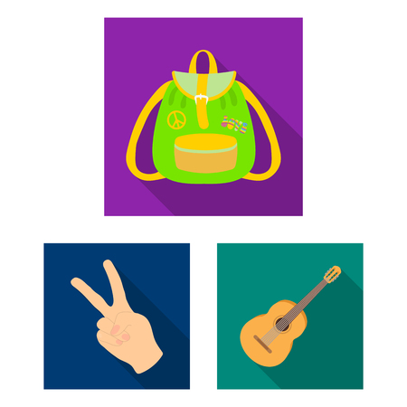 Happy and attribute flat icons in set collection for design. Happy and accessories vector symbol stock web illustration.