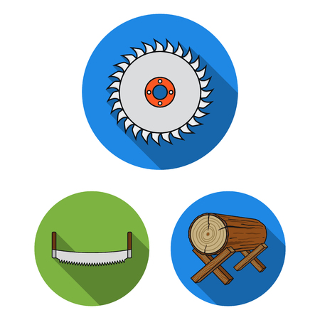Sawmill and Timber flat icons in set collection for design. Hardware and Tools vector symbol stock web illustration. Ilustrace