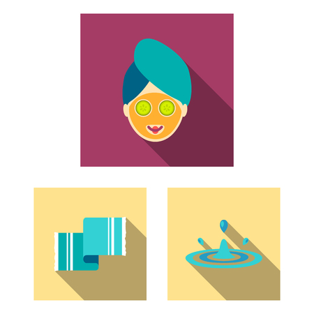 Spa salon and equipment flat icons in set collection for design. Relaxation and rest vector symbol stock web illustration. 矢量图像