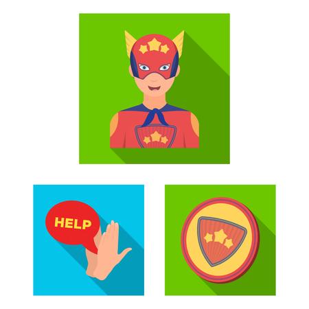 A fantastic superhero flat icons in set collection for design. Superhero s equipment vector symbol stock web illustration. Çizim
