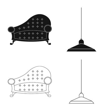 Disegno vettoriale di mobili e icona appartamento. Set di mobili e casa simbolo azionario per il web.