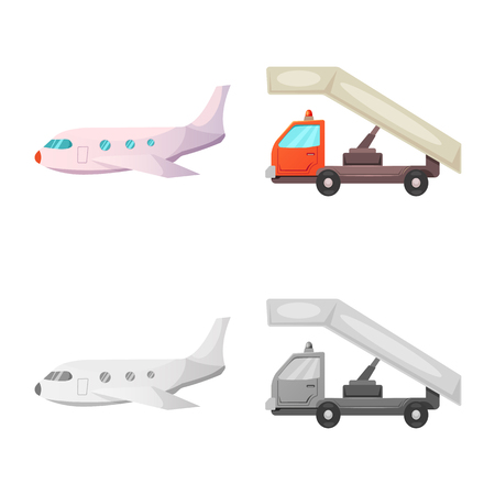Vector design of airport and airplane logo. Set of airport and plane vector icon for stock.