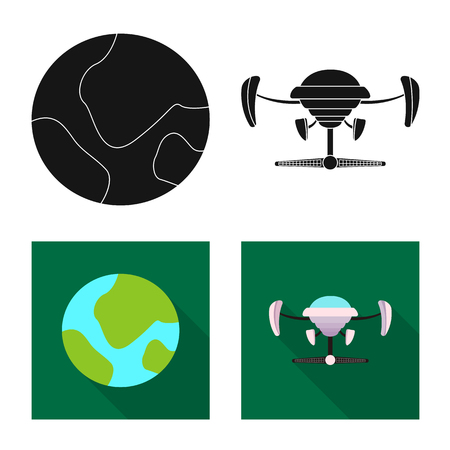 Vector illustration of mars and space icon. Set of mars and planet vector icon for stock. 矢量图像