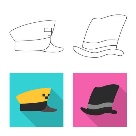 Vector design of headgear and cap icon. Set of headgear and accessory stock symbol for web. Illustration