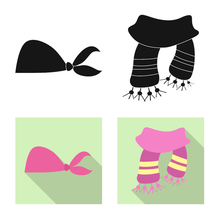Isolated object of scarf and shawl logo. Collection of scarf and accessory stock vector illustration.