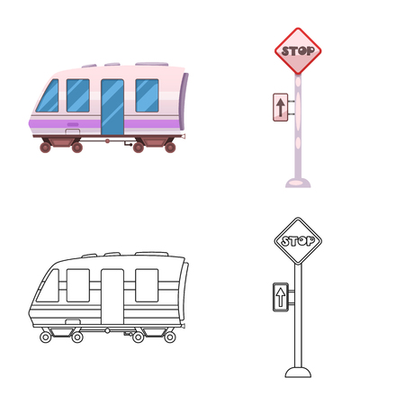 Vector illustration of train and station sign. Set of train and ticket stock vector illustration. Ilustração