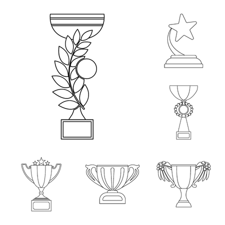 Gold Cup outline icons in set collection for design. Winners Cup vector symbol stock  illustration.