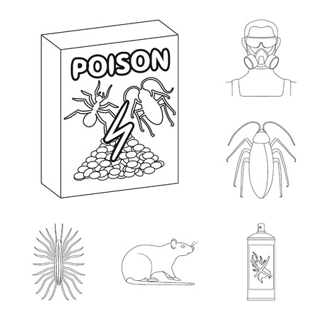 Pest, poison, personnel and equipment outline icons in set collection for design. Pest control service vector symbol stock  illustration. 写真素材