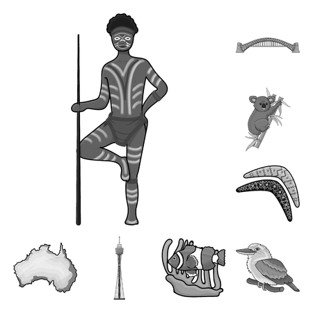 Country Australia monochrome icons in set collection for design.Travel and attractions vector symbol stock  illustration. Stock fotó