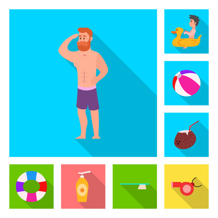 Vector design of pool and swimming icon. Set of pool and activity vector icon for stock.