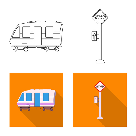 Vector illustration of train and station icon. Collection of train and ticket vector icon for stock.