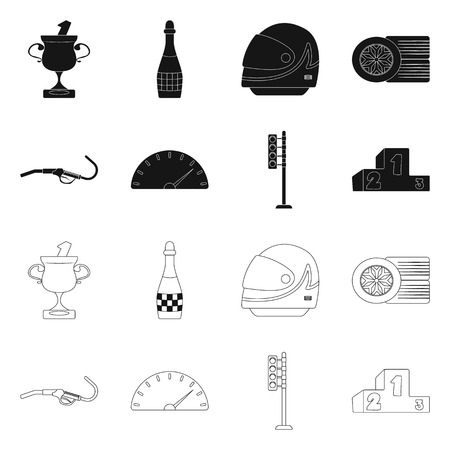 Isolated object of car and rally icon. Set of car and race stock symbol for web. 向量圖像