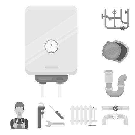 Plumbing, fitting monochrome icons in set collection for design. Equipment and tools vector symbol stock web illustration. Ilustracja