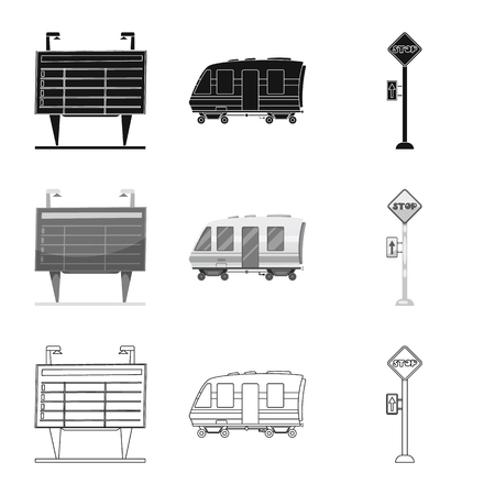 Vector design of train and station symbol. Collection of train and ticket vector icon for stock.