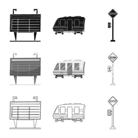 駅と駅のシンボルのベクトル設計。在庫のための列車とチケットベクトルアイコンのコレクション。