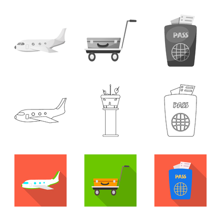 Isolated object of airport and airplane symbol. Set of airport and plane stock symbol for web.