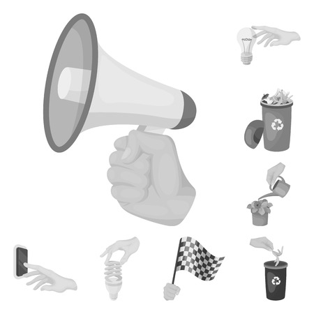 Manipulation by hands monochrome icons in set collection for design. Hand movement vector symbol stock illustration.