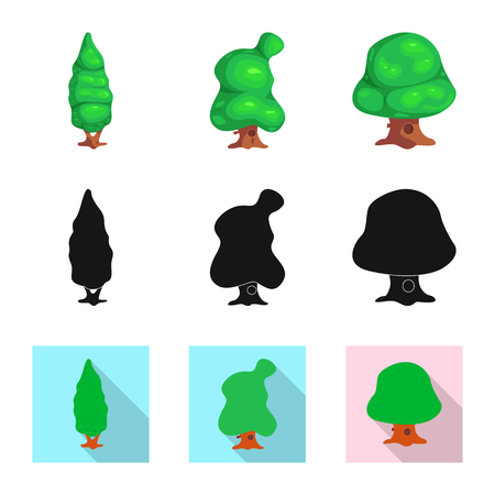 Vector illustration of tree and nature icon. Collection of tree and crown vector icon for stock. Иллюстрация