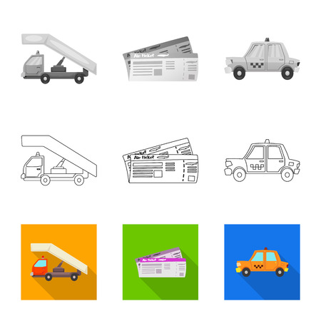 Isolated object of airport and airplane symbol. Set of airport and plane stock vector illustration. Иллюстрация