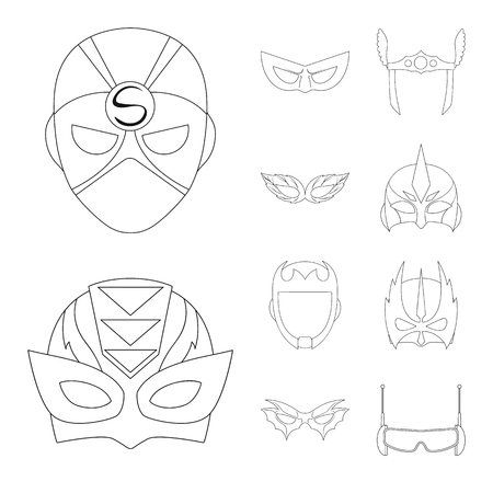 Vector illustration of hero and mask sign. Collection of hero and superhero vector icon for stock.