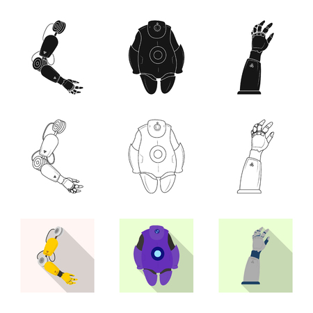 Isolated object of robot and factory icon. Collection of robot and space stock vector illustration. Ilustrace