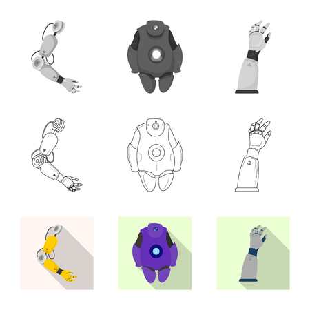 Vector illustration of robot and factory logo. Set of robot and space stock symbol for web.