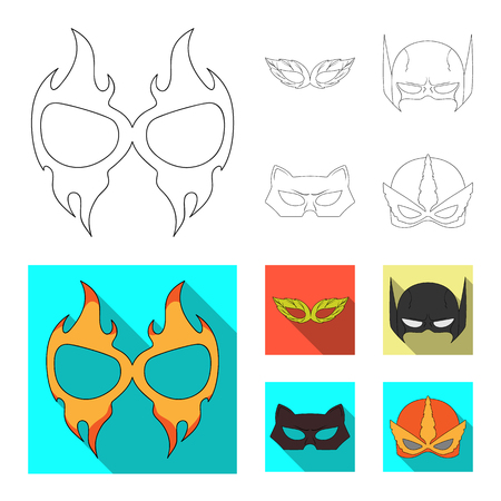 Vector design of hero and mask logo. Set of hero and superhero vector icon for stock.