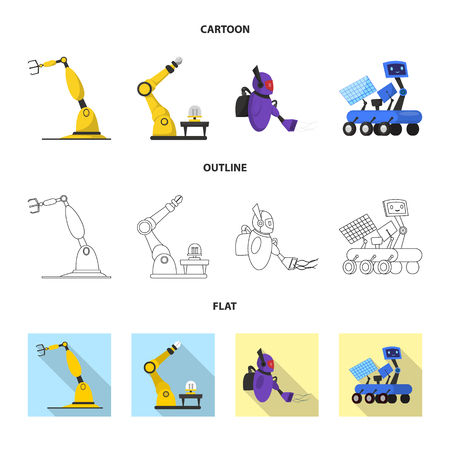 Isolated object of robot and factory symbol. Set of robot and space stock vector illustration.