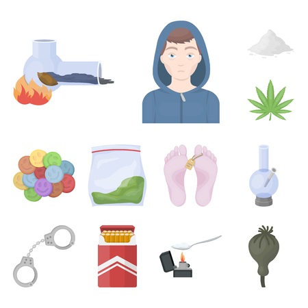 Drug addiction and attributes cartoon icons in set collection for design. Addict and Drug vector symbol stock web illustration. Ilustração
