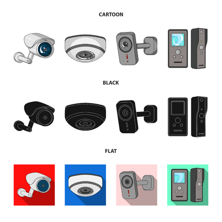 Vector design of cctv and camera icon. Set of cctv and system vector icon for stock.