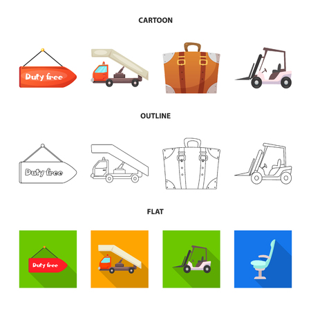Isolated object of airport and airplane symbol. Collection of airport and plane stock vector illustration. Ilustração