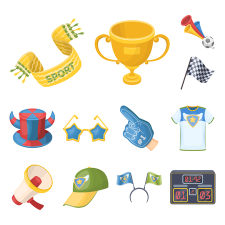 Fan and Attributes cartoon icons in set collection for design. Sports Fan vector symbol stock web illustration. Vector Illustration