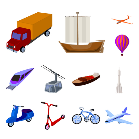 Diversi tipi di icone del fumetto di trasporto nella raccolta di set per il design. Auto e nave simbolo d'archivio web illustrazione di vettore. Vettoriali